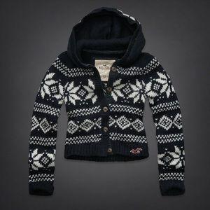NWT Hollister snowflake wool sweater cardigans